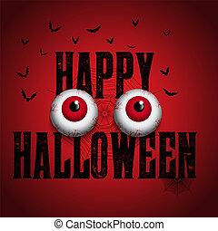 dia das bruxas, fundo, com, spooky, globos oculares
