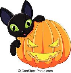 dia das bruxas, gato, pretas, segurando, caricatura, abóbora