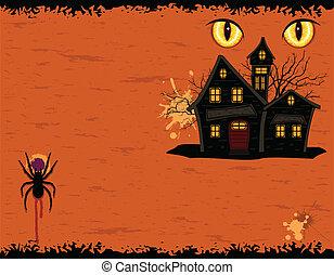 dia das bruxas, grungy, mansão, partido, fantasmas, cartão