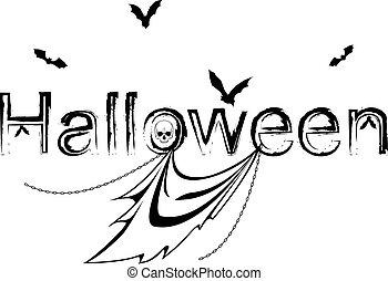 dia das bruxas, ilustração, com, morcegos, e, fantasma