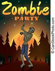 dia das bruxas, ilustração, lua, zombie, experiência., vetorial, laranja, partido