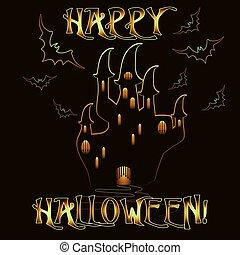 dia das bruxas, ilustração, vetorial, convite, castelo, cartão, feliz