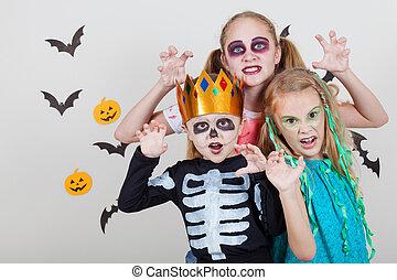 dia das bruxas, irmão, dois, irmãs, partido, feliz