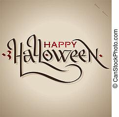 dia das bruxas, mão, lettering, (vector)