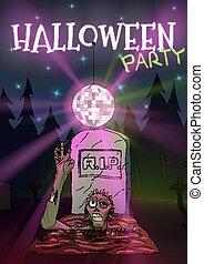 dia das bruxas, mão, zombie, convite, partido, discoball., puxa, feliz