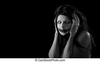 dia das bruxas, menina, com, assustador, boca