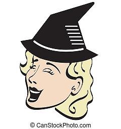 dia das bruxas, mulher, feiticeira, traje