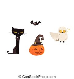 dia das bruxas, objetos, -, gato, coruja, morcego, abóbora, lanterna