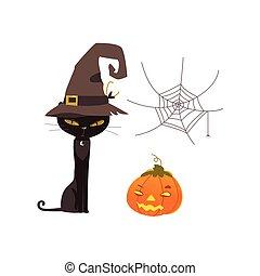 dia das bruxas, objetos, -, gato, teia aranha, abóbora, lanterna