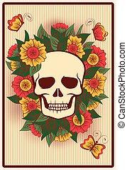 dia das bruxas, pôquer, cartão, com, cranio