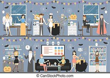 dia das bruxas, partido., escritório