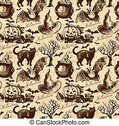 dia das bruxas, pattern., seamless, ilustração, mão, desenhado
