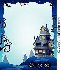 dia das bruxas, quadro, com, casa assombrada, 2