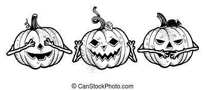 dia das bruxas, sábio, três, pumpkins.