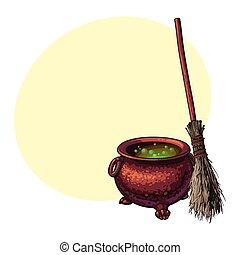 dia das bruxas, símbolos, -, feiticeira, cauldron, com, ferver, poção, e, ramo, vassoura