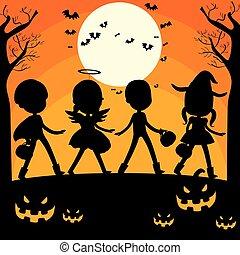 dia das bruxas, silueta, crianças