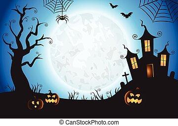 dia das bruxas, spooky, azul, vetorial, cena, fundo