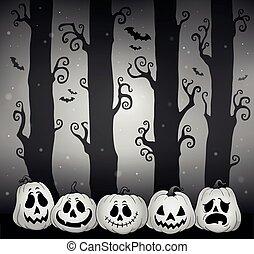 dia das bruxas, tema, 5, floresta, imagem