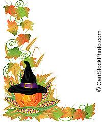 dia das bruxas, tomada-o-lanterna, ilustração, videiras, borda, abóbora