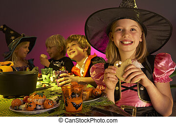 dia das bruxas, trajes, fantasia, crianças, divertimento, partido, tendo
