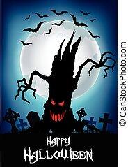 dia das bruxas, tre, fundo, assustador