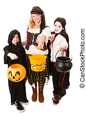 dia das bruxas, trio, crianças