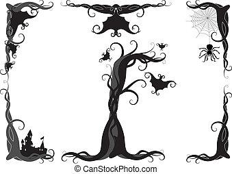 dia das bruxas, vetorial, ornamento