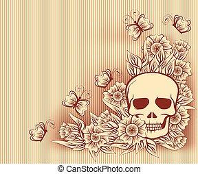 dia das bruxas, vindima, cartão, com, cranio