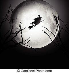 dia das bruxas, voando, céu, fundo, feiticeira