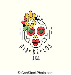 Dia De Los logo, Mexican Day of the Dead holiday design element with sugar skull, party banner, poster, greeting card or invitation hand drawn vector Illustration