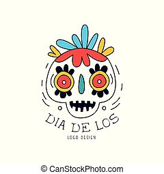 Dia De Los logo, Mexican Day of the Dead holiday poster with sugar skull and maracas, party banner, poster, greeting card or invitation hand drawn vector Illustration