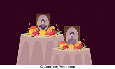 dia de los muertos animation with pray altars and pictures ,...