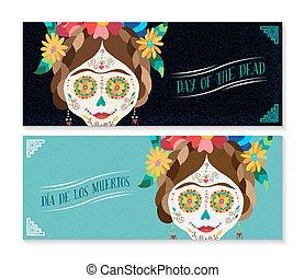 Dia de los muertos banner set with happy skull