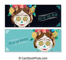 Dia de los muertos banner set with happy skull