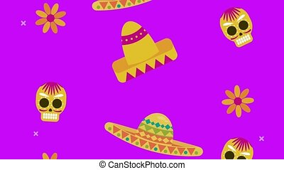 dia de los muertos celebration with hats and skulls pattern...