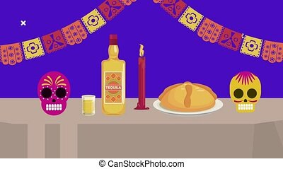 dia de los muertos celebration with tequila and sweet pie ,...