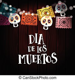 Dia de los Muertos, Day of the Dead or Halloween card,...
