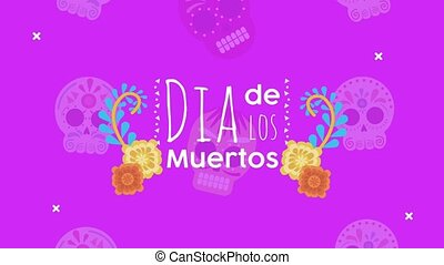 dia de los muertos lettering celebration with flowers and ...