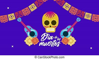 dia de los muertos lettering celebration with skull and ...