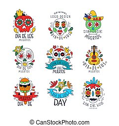 Dia De Los Muertos logo set, Mexican Day of the Dead holiday design elements can be used for party banner, poster, greeting card or invitation hand drawn vector Illustrations
