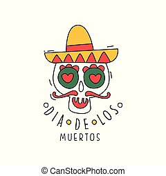 Dia De Los Muertos logo, traditional Mexican Day of the Dead, design element can be used for holiday party banner, greeting card or invitation hand drawn vector Illustration