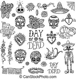 Day of the Dead hand sketched doodles
