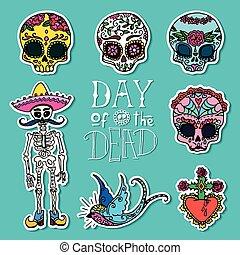 Dia de los Muertos or Day of the Dead stickers