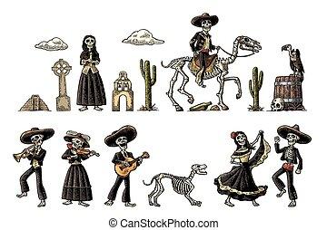 Dia de los Muertos. The skeleton in Mexican national...