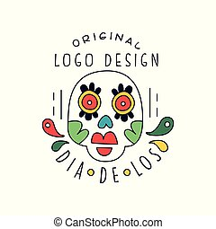 Dia De Los original logo design, traditional Mexican Day of the Dead holiday party decoration banner, greeting card or invitation hand drawn vector Illustration
