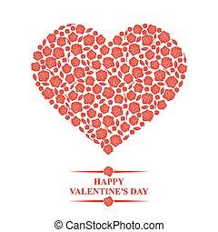 dia dos namorados, cartão, com, corações, de