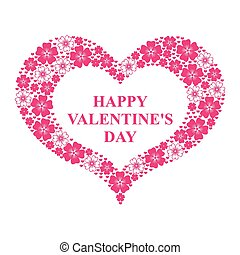 dia dos namorados, cartão, com, decorativo, corações, de, flores, e, corações
