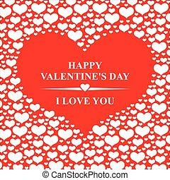 dia dos namorados, cartão, com, vermelho, corações