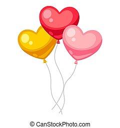 dia dos namorados, dado forma, balloons., coração