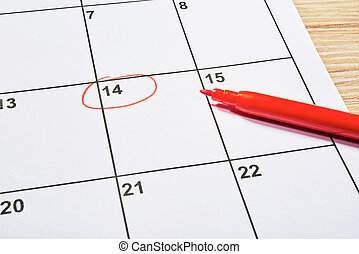dia dos namorados, em, agenda, com, lápis